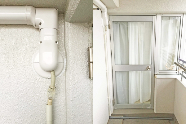 「室外機」×「塩ビ管」×「排水」