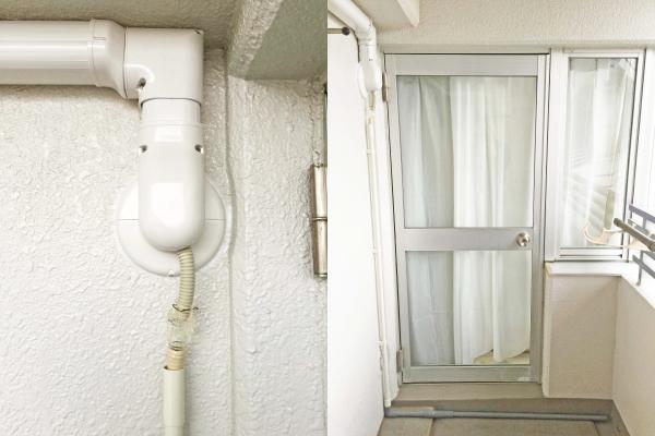 三菱・霧ヶ峰ADVANCE完成イメージ:化粧カバー + 排水塩ビ管仕上げ
